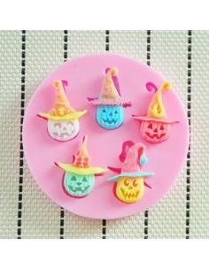 Molde de silicona Halloween calabazas con sombrero