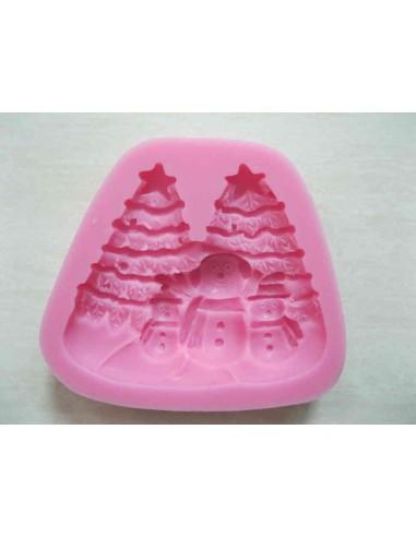 Molde silicona estampa navideña con muñecos de nieve y abetos