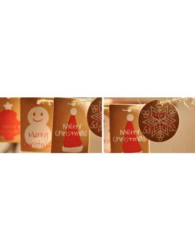 Etiquetas Kraft diseños navideños