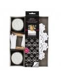 Kit de fiesta cupcake de color blanco diseño floral