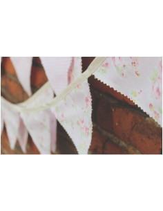 Banderines de tela reversibles flores rosa y cuadros rosa