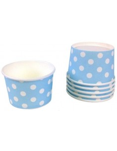 Tarrinas helado azul con lunares
