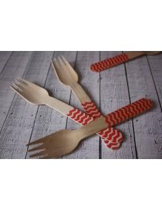 Tenedores madera chevron rojo
