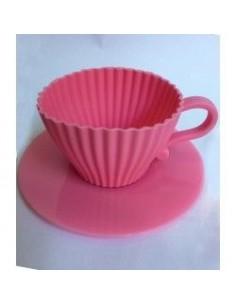 Molde silicona taza para cupcake rosa