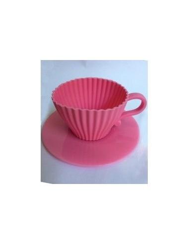 Molde silicona taza cupcake rosa - Moldes cupcakes silicona ...