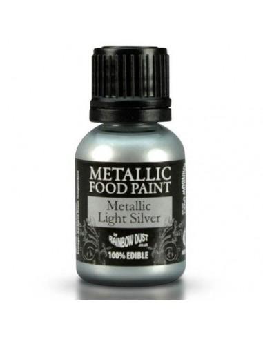 Pintura comestible metalizada plata