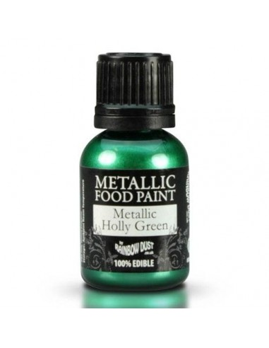 Pintura comestible metalizada verde acebo