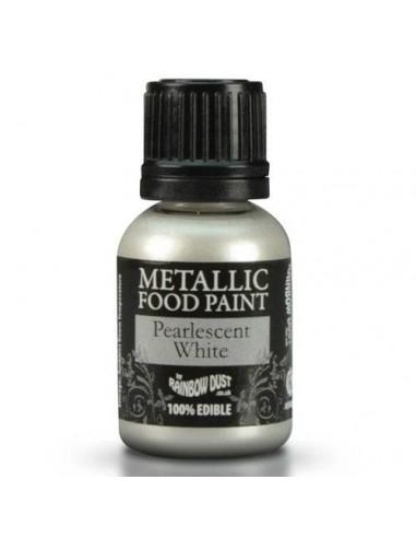 Pintura comestible metalizada blanco perlado