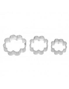 Set 3 cortadores metálicos mini flores