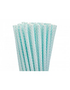 Pack 25 pajitas de papel azules clásicas