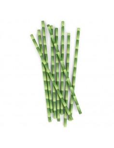 Pack 25 pajitas de papel de imitación bambú