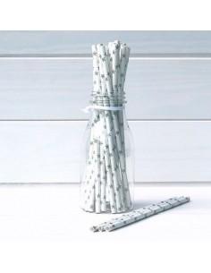 Pack 25 pajitas de papel blancas con estrellas plata