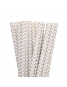 Pack 25 pajitas de papel blancas con zig zag plata
