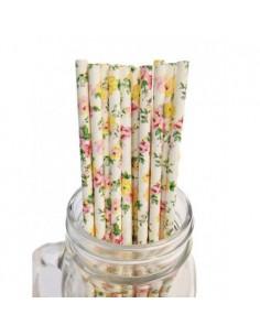 Pack de 25 pajitas de papel de color blanco con flores rosas y amarillas