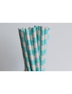 Pack 25 pajitas de papel blancas con rayas horizontales azul cielo
