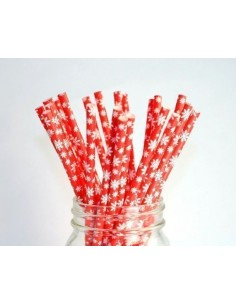 Pack 25 pajitas de papel rojo con copos de nieve blancos