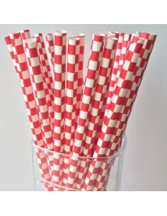 Pack 25 pajitas de papel blancas con cuadros rojos