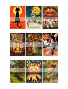 Papel de azúcar Halloween retro