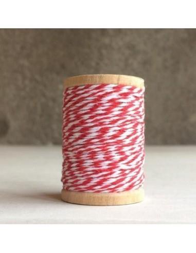 Cuerda trenzada Fancy twine rojo y blanco