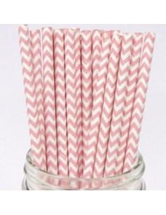Pack 25 pajitas de papel en zig zag rosa y blanco