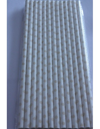 Pack 25 pajitas de papel blanca con lunares beige