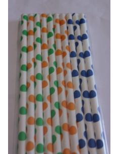 Pack 10 pajitas de papel variadas círculos