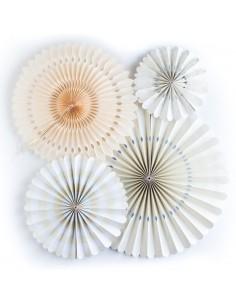 Abanicos de papel marfil