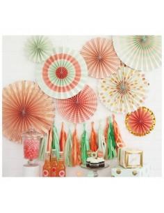 Abanicos de papel tonos pastel
