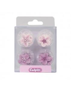 Figuritas azúcar flores lilas