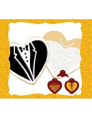 2 stencil forma corazon traje novios + cortador corazon