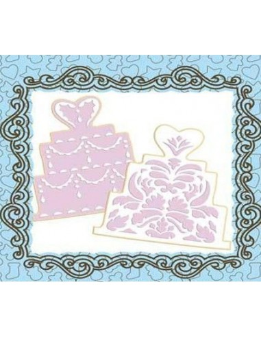 2 stencil forma tarta boda + cortador tarta