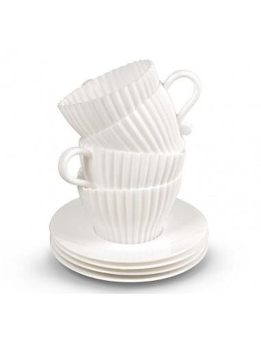 Juego de 4 tazas blanco de silicona para cupcake