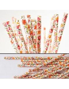 Pack 25 pajitas de papel blancas con flores
