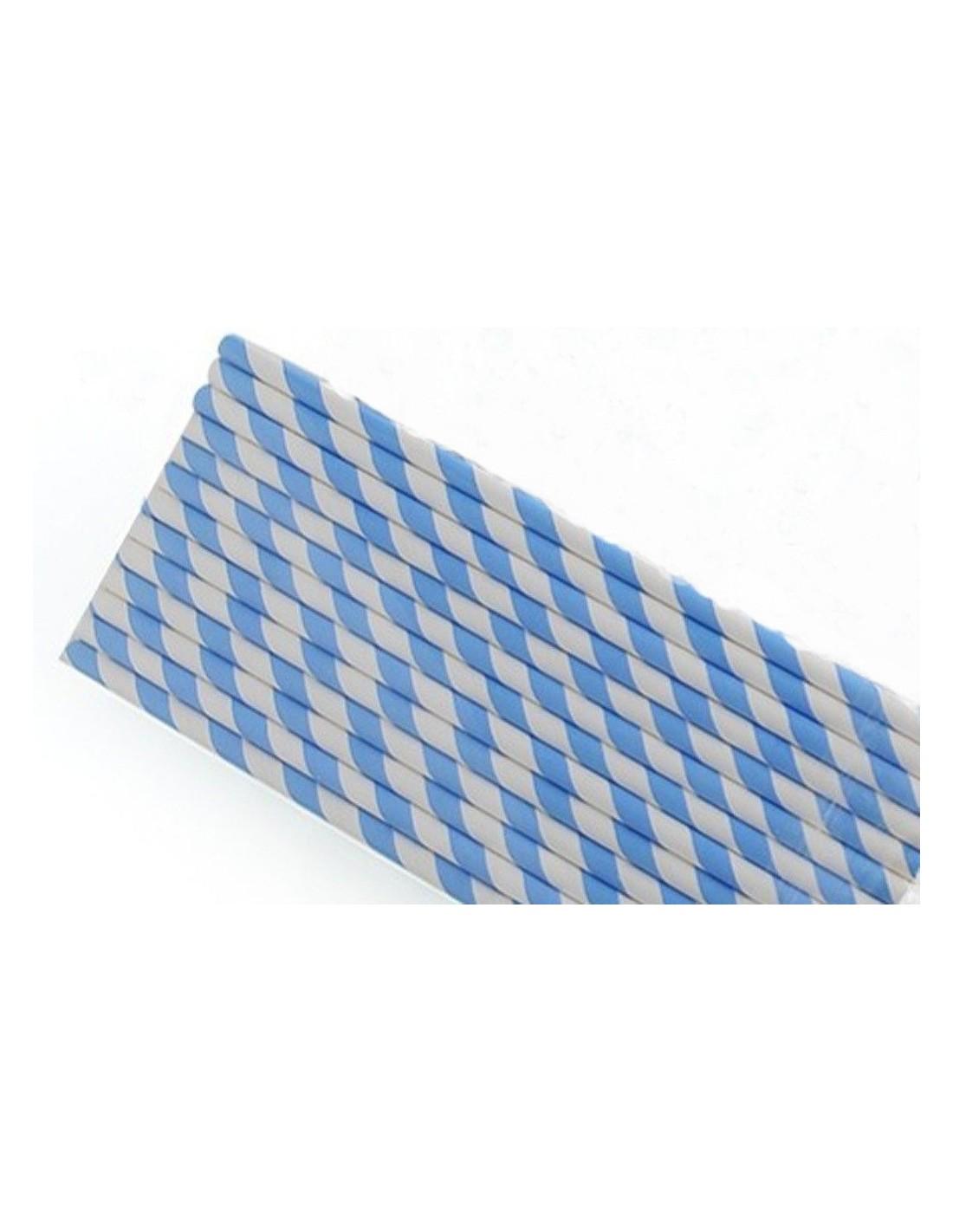 Pajitas de papel blancas con rayas azul cielo for Papel con rayas