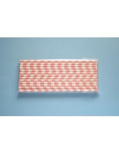 Pack 25 pajitas de papel blancas con rayas horizontales rosa