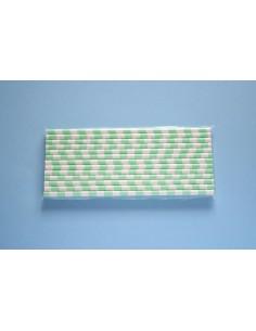 Pack 25 pajitas de papel blancas con rayas horizontales turquesa