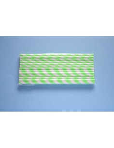 Pack 25 pajitas de papel blancas con rayas verdes fluor