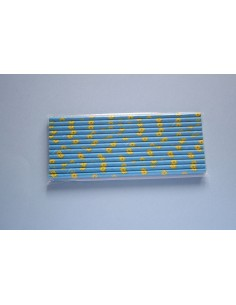 Pack 25 pajitas de papel azul con girasoles amarillos