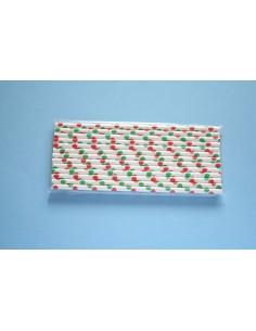 Pack 25 pajitas de papel blancas con lunares rojos y verdes