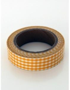 Fabric Tape cuadros naranjas