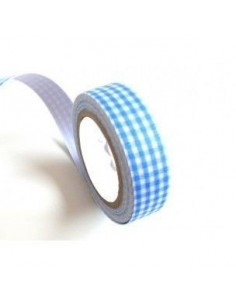 Fabric tape cuadros azul