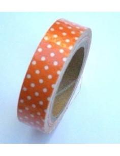 Fabric Tape Naranja Lunares Blancos