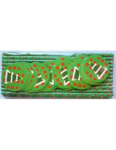 Pack de 25 pajitas de papel verde con toppers de árbol de navidad