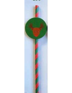 Pack de 25 pajitas de papel de rayas verdes y rojas con toppers de Reno