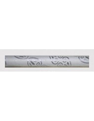 Pack de 25 pajitas de papel con cenefa barroca plata