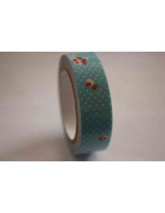 Fabric Tape azul con lunares y flores