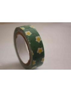 Fabric Tape verde con flores