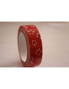Fabric Tape rojo con flores