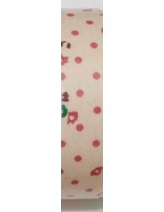 Fabric tape camel con lunares rosas y flores verdes y rosas