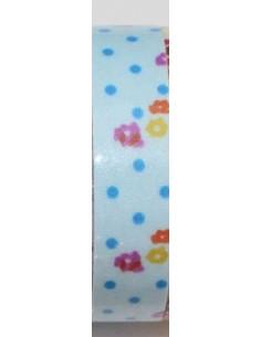 Fabric tape azul claro con lunares azules y flores